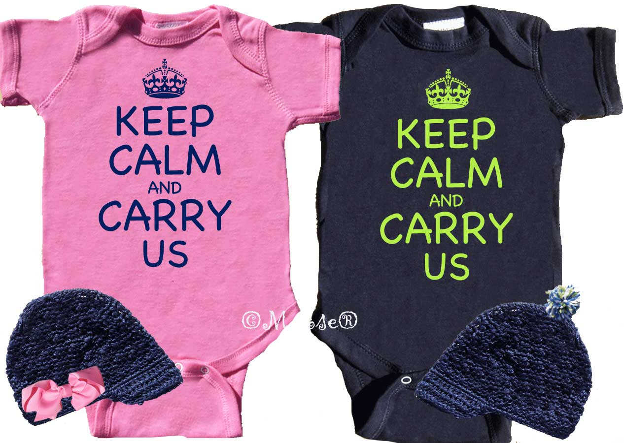 ae9b67148e4e9 Cool Twin Baby Outfits Keep Calm and Carry Us
