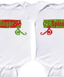 Twin Girls Christmas Rompers