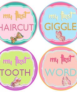 Baby Girl Milestone Stickers Butterflies 1st Tooth I Can