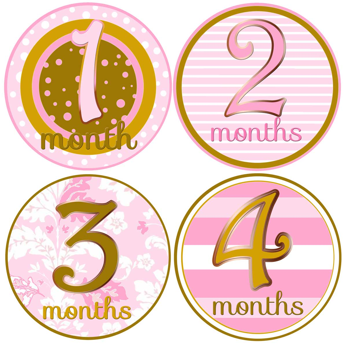girlmonthsticker baby girl milestone month pink age gold shop stickers