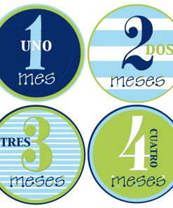 Baby Boy Month Stickers Spanish