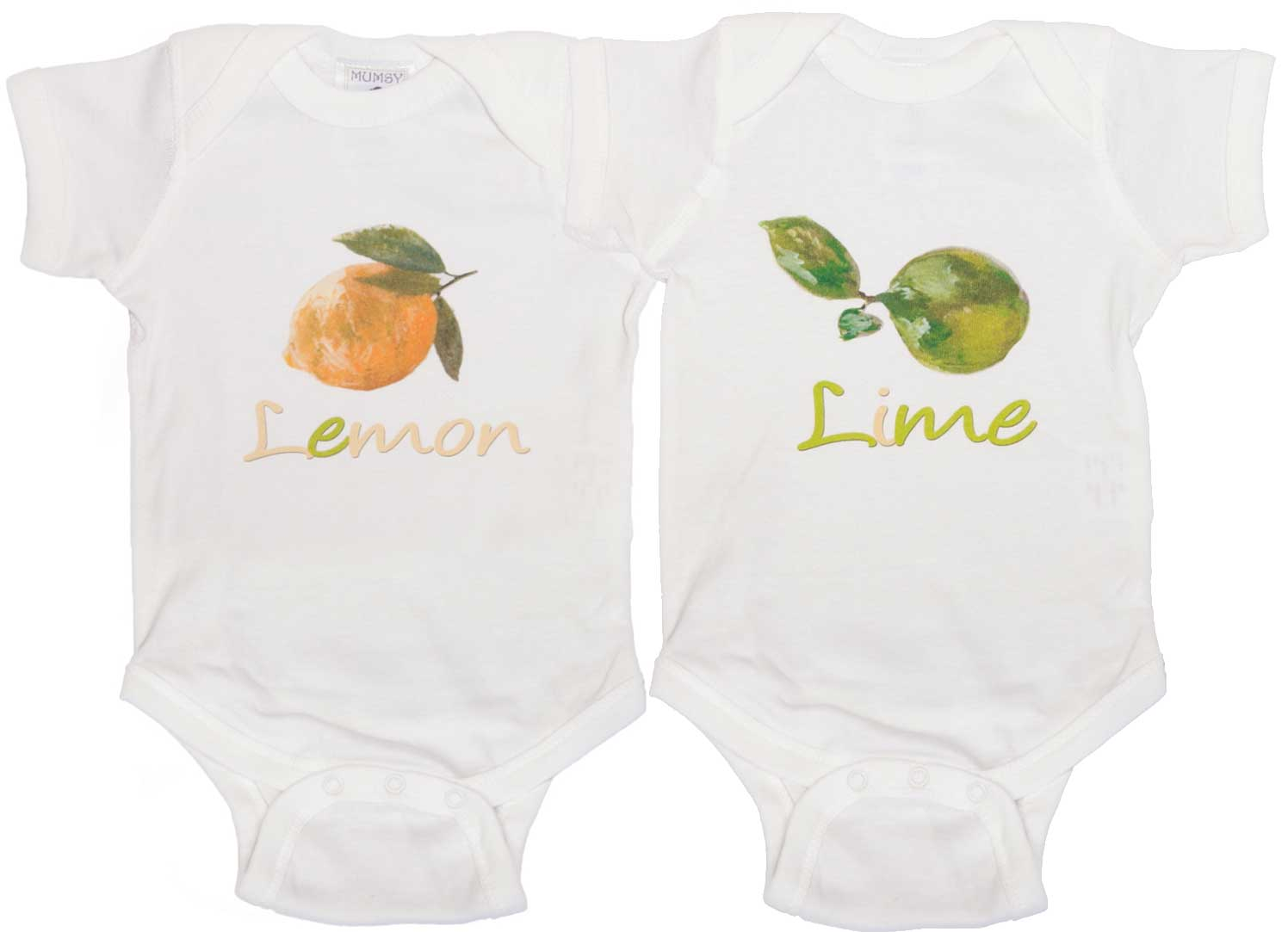 56b1eabe9e7 Cute Twin Shirts Lemon and Lime Rompers - Mumsy Goose