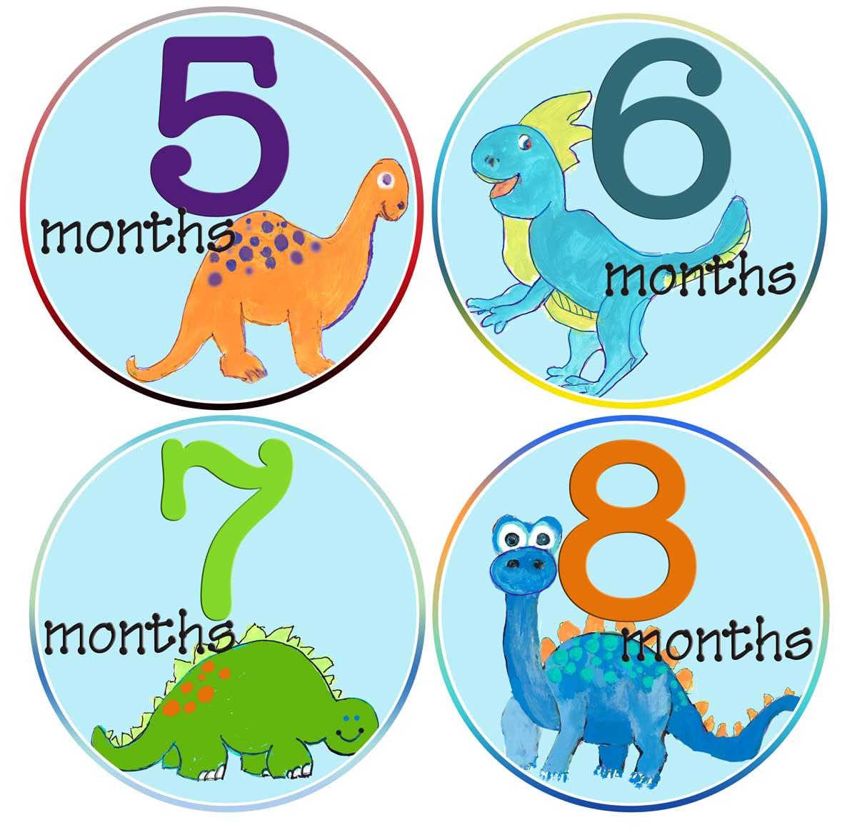 Baby Boy Dinosaurs Month Stickers First Year Stickers Mumsy Goose