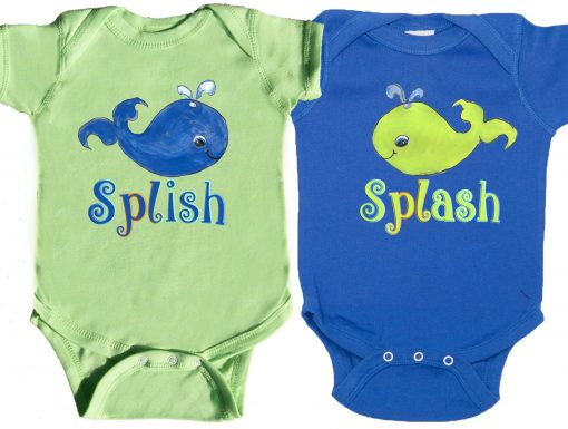 Twin Baby Whale Bodysuits